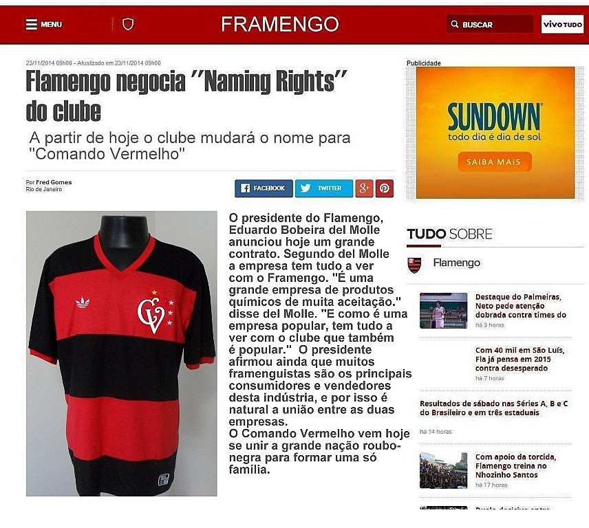 FLAMENGO NAMING RIGHTS